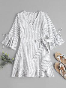مخطط ميني اللباس التفاف - أبيض S
