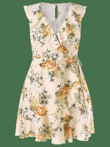 Vestido Volantes Albaricoque La L Con Sobrepelliz Floral En HrwHq58
