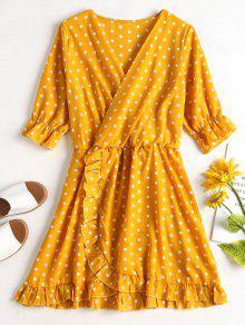 فستان بنمط لف منقط - الأصفر S