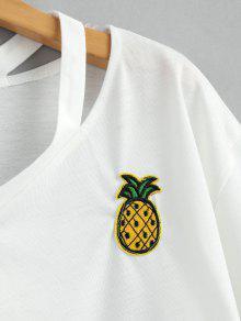 Pi Parche a Con S Con Parche Anudado Blanco De Y Cuello Camiseta YAxzqpA