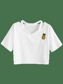 Y Blanco Parche De Parche a Cuello Con Anudado S Con Pi Camiseta q81wRR