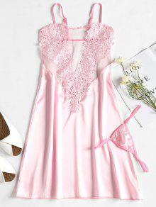 زين زلة ثوب النوم ثوب النوم الحرير - وردي فاتح