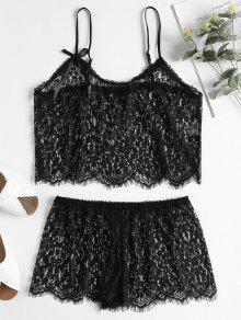شير الرباط كامي الأعلى والسراويل مجموعة الملابس الداخلية - أسود