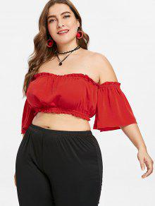 a9aa1532b1 25% OFF  2019 Plus Size Frills Trim Bandeau Top In LOVE RED