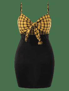 Grande Cuadros 3x Camisero Vestido Amarillo Brillante A Talla vxUqqwI1