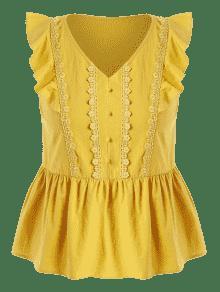L Blusa Tallas Amarillo De Con Botones Grandes Volantes Brillante w8gq7