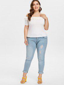 Grandes Tallas L Hombros Camiseta Con Descubiertos Blanco Y qIxXxRZw1