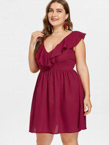 50f52c3909c 35% OFF  2019 Plus Size Ruffled Plunge Mini Dress In RED WINE