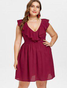 زائد حجم تكدرت يغرق البسيطة اللباس - نبيذ احمر 4x