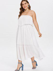 35% OFF] 2019 Plus Size Maxi Tube Flowy Dress In WHITE   ZAFUL