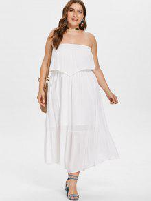 بالاضافة الى حجم ماكسي أنبوب Flowy اللباس - أبيض 2x