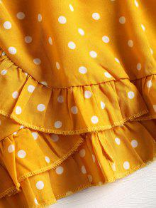 1bfe92eb57a1 30% OFF] 2019 Ruffle Polka Dot Mini Faux Wrap Dress In YELLOW | ZAFUL