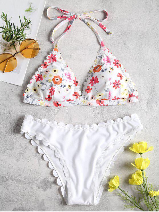 fashion Floral Scalloped Halter Bikini Set - WHITE L