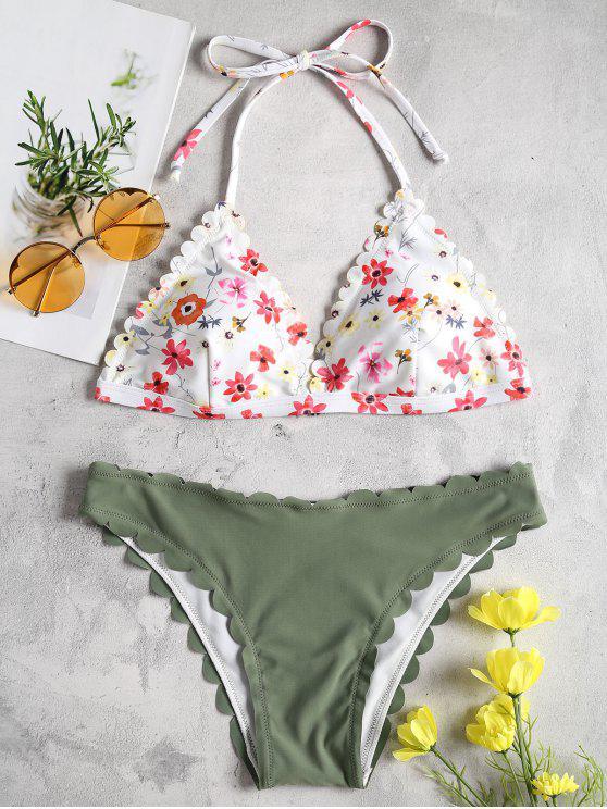 unique Floral Scalloped Halter Bikini Set - DARK SEA GREEN L
