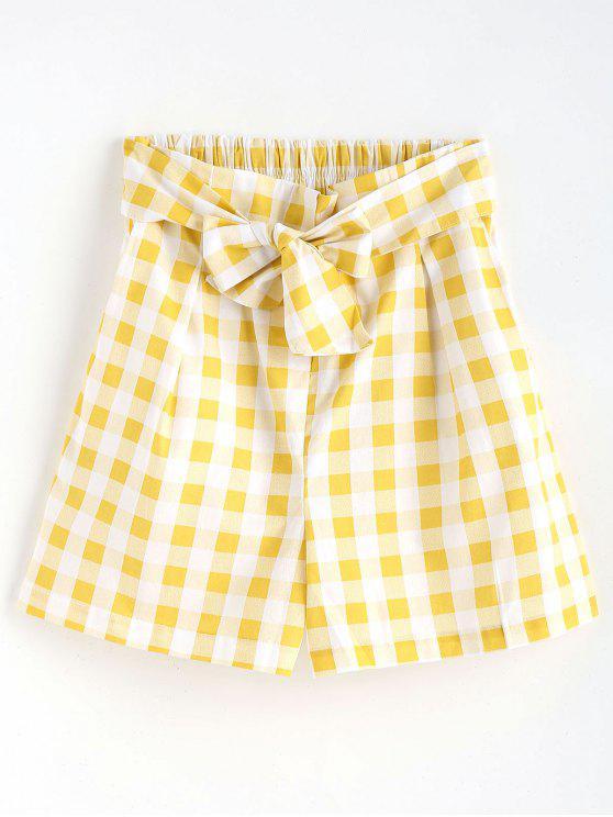 Pantalones cortos con volantes de cintura alta de Gingham - Amarillo M
