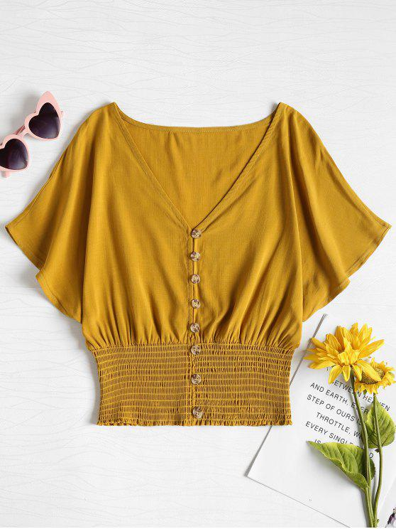 Top Dolman Con Bottoni A Vita Increspata - Giallo Raccolto M