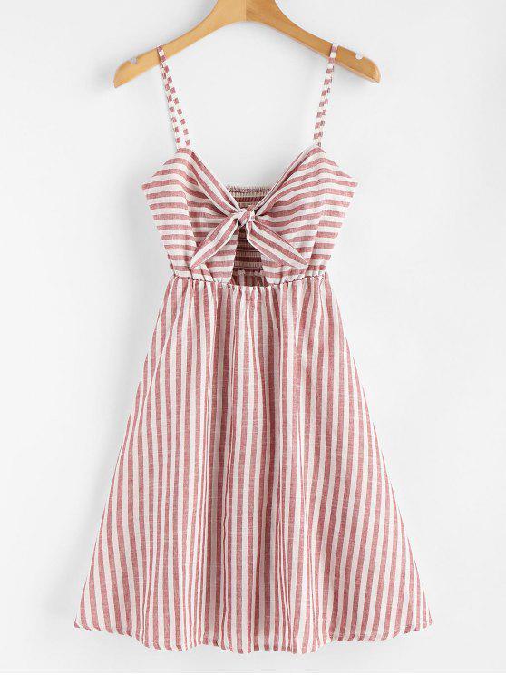 fashion Smocked Knotted Stripes Dress - CHESTNUT RED M