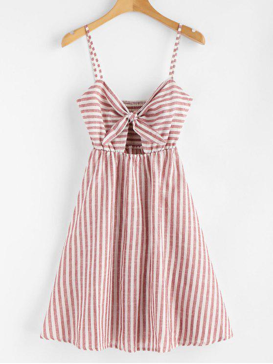 chic Smocked Knotted Stripes Dress - CHESTNUT RED S