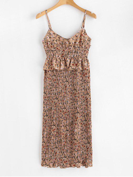 Vestido plisado deshilachado floral - Oso Café XL