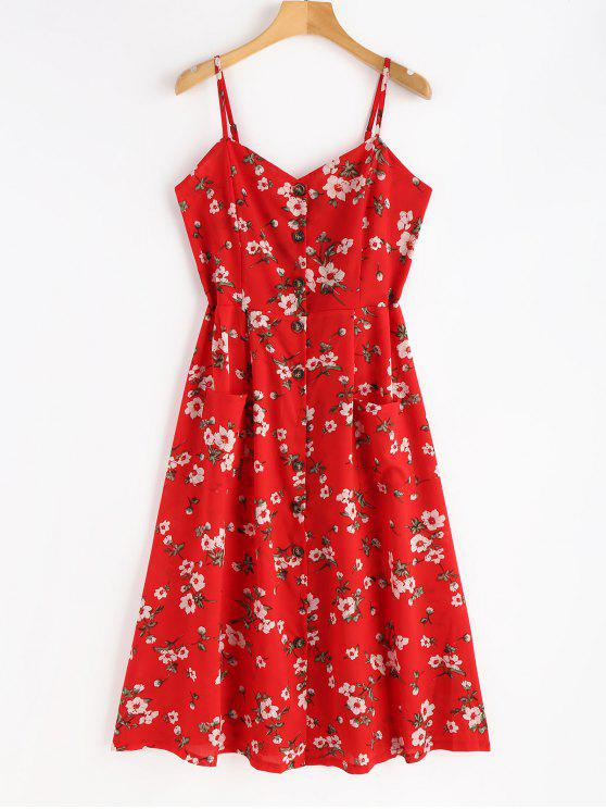 Smocked Button Up Floral Dress - Amo Rojo L