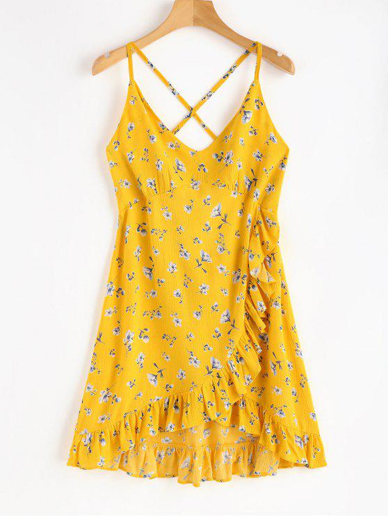 fashion Ruffles Criss Cross Floral Dress - RUBBER DUCKY YELLOW M