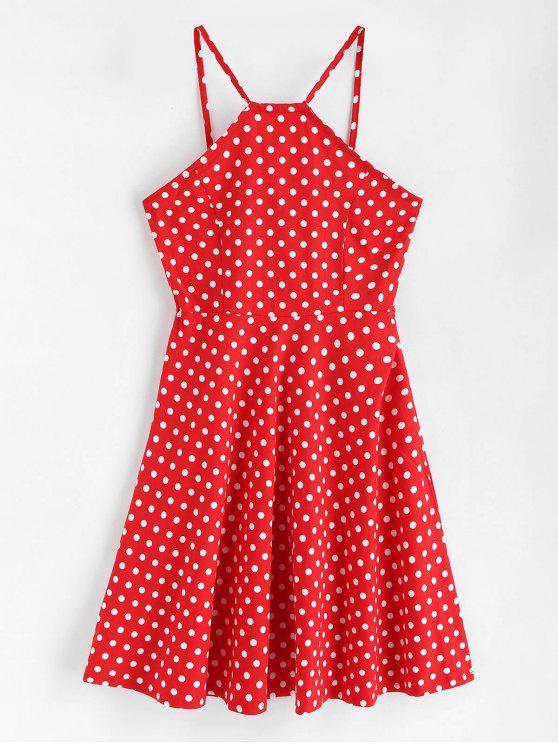 women Side Zipper Polka Dot A Line Dress - LOVE RED L