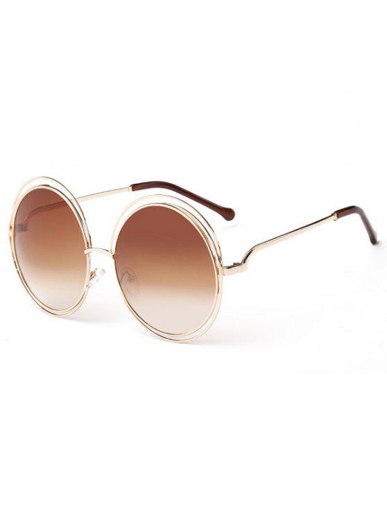 buy Anti Fatigue Hollow Out Frame Round Sunglasses - LIGHT BROWN