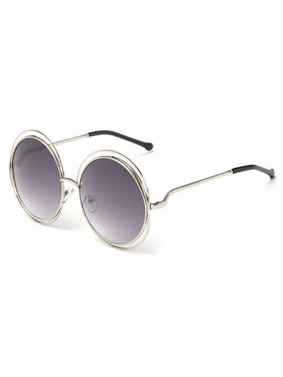 women Anti Fatigue Hollow Out Frame Round Sunglasses - GRAY