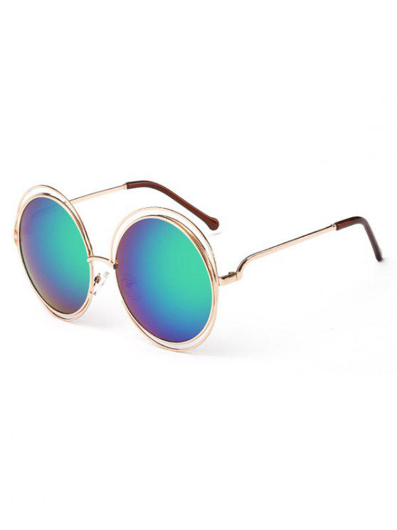 ladies Anti Fatigue Hollow Out Frame Round Sunglasses - BLUE GREEN