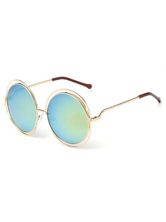 online Anti Fatigue Hollow Out Frame Round Sunglasses - MACAW BLUE GREEN
