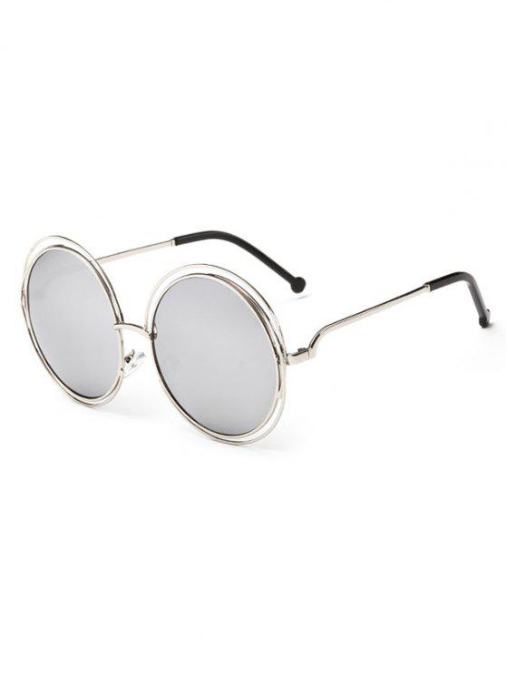 new Anti Fatigue Hollow Out Frame Round Sunglasses - SILVER