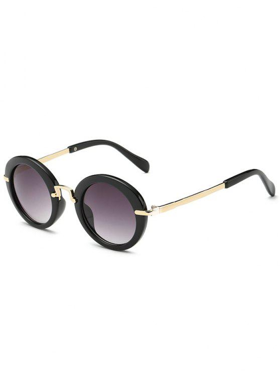 Anti-Ermüdung Full Frame flache Linse Oval Sonnenbrillen - Schwarz