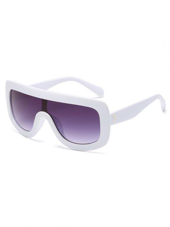 trendy Anti Fatigue Oversized Shield Sunglasses - MILK WHITE