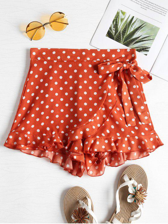 Short Court Taille Haute et à Pois - Orange Papaye XL