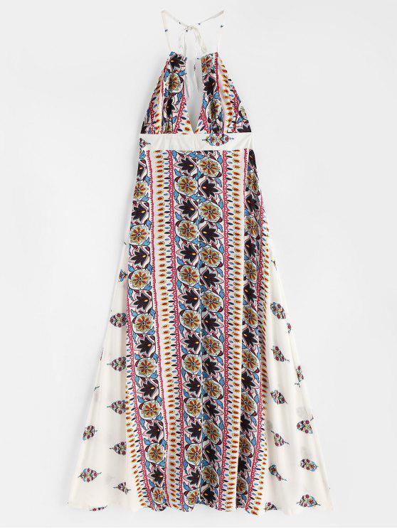 الرسن عارية الذراعين ماكسي فستان الشاطئ - أبيض L