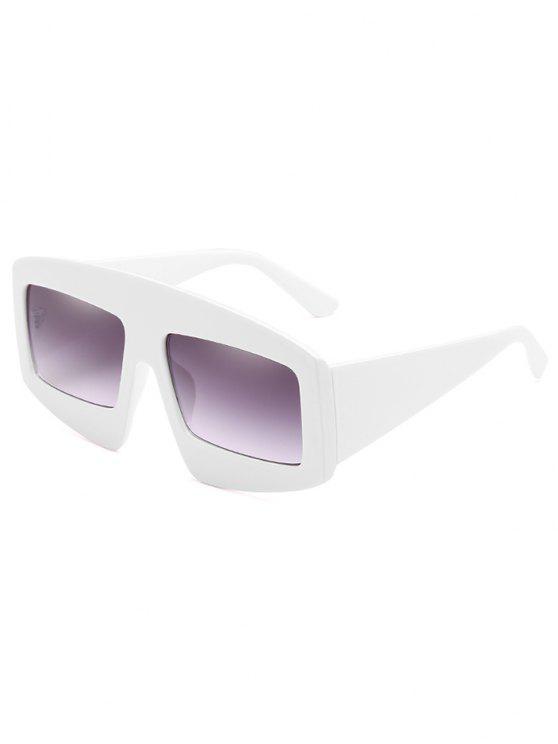 Stilvolle breite Rahmen flache Sonnenbrille - Milchweiß