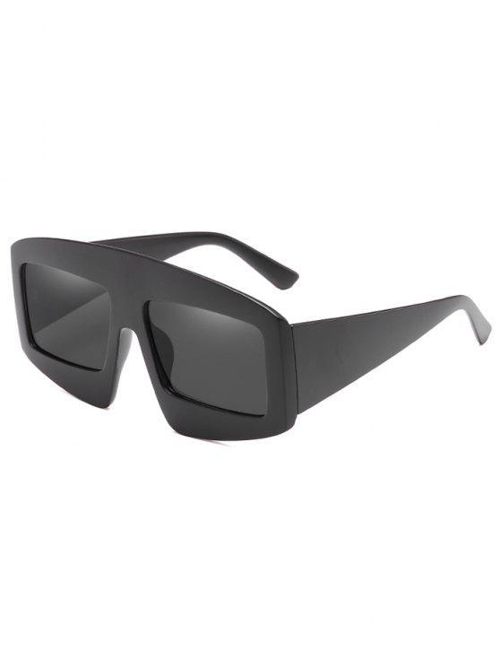 Stilvolle breite Rahmen flache Sonnenbrille - Schwarz