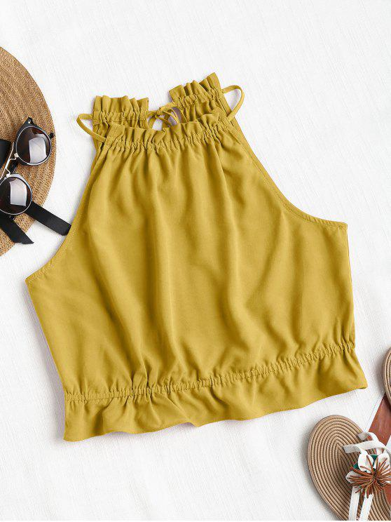 latest Ruffles Crop Tank Top - GOLDEN BROWN L