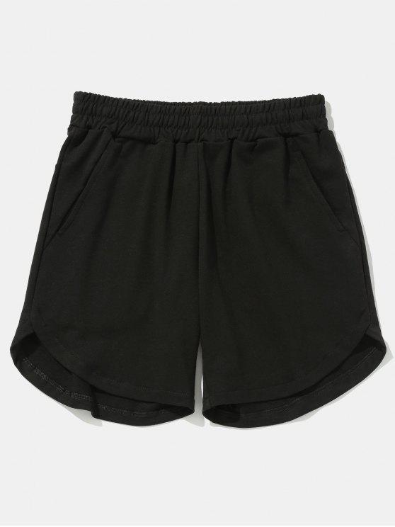 Einfarbige Shorts mit abgerundetem Saum - Schwarz 38