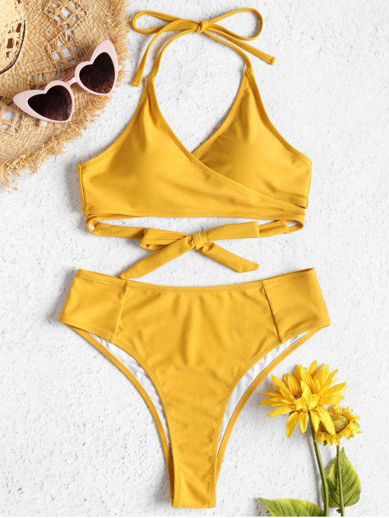 ladies High Waisted Wrap Bikini Set - SUN YELLOW M