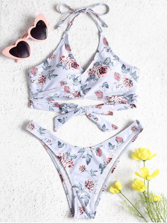 women's Rose Print Wrap Bikini Set - LAVENDER BLUE L