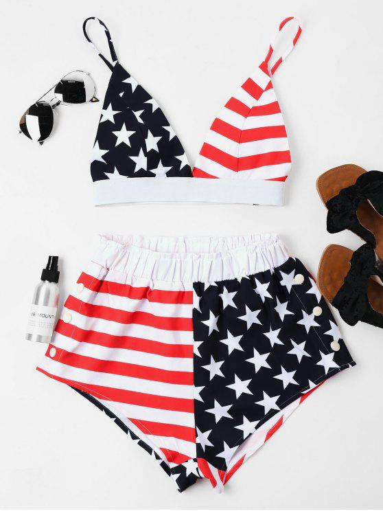 shop American Flag Cami Shorts Set - BLACK L