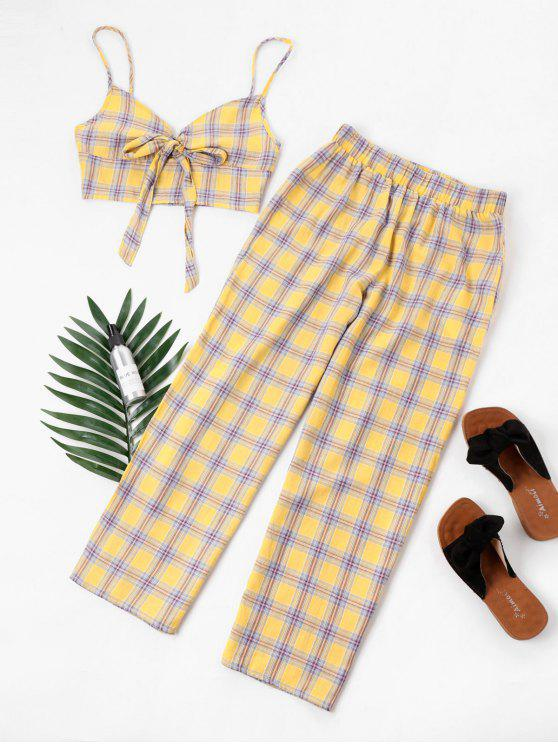 affordable Tartan Knot Camisole and Pants Set - YELLOW L