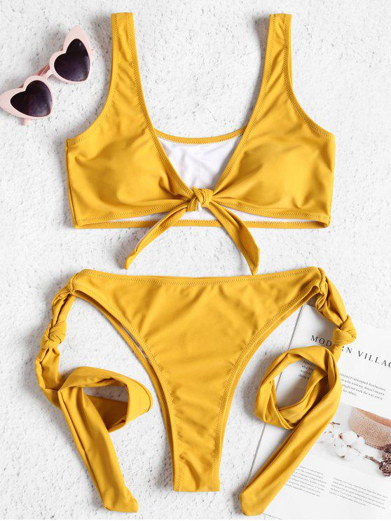 women Tie Front Knot High Leg Bikini Set - SUN YELLOW M