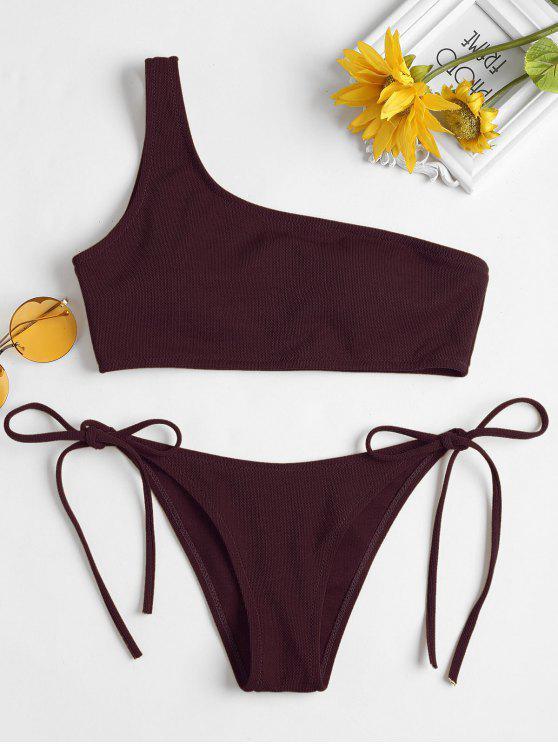 hot ZAFUL Tie Side Textured One Shoulder Bikini - PLUM PIE M