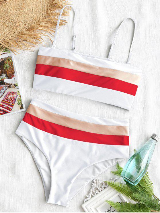 Cami Gestreifter Hoch Taillierter Bikini - Weiß S