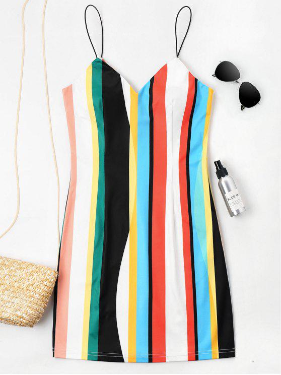 trendy Mini Striped Cami Dress - MULTI S