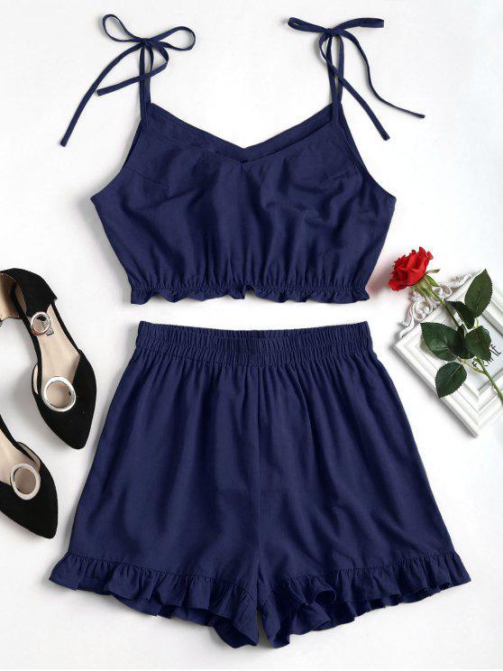 Conjunto de Shorts Slip Ruffles - Azul Escuro M