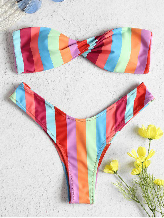 Conjunto de bikini arcoiris Twist Bandeau - Multi-J M