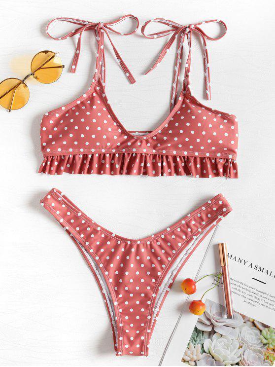 women's Tie Shoulders Ruffle Polka Dot Bikini Set - LIGHT CORAL L
